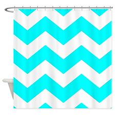 Aqua Blue and White Chevron Shower Curtain