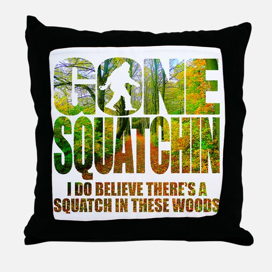 Gone Squatchin *Wooded Path Edition* Throw Pillow
