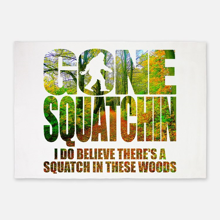 Gone Squatchin *Wooded Path Edition* 5'x7'Area Rug