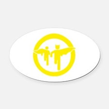 Guy with sidekick - bananaharvest Oval Car Magnet