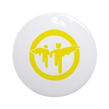 Guy with sidekick - bananaharvest Round Ornament
