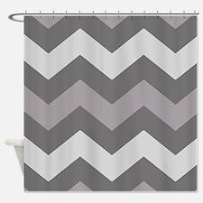 Dark Grey Chevron Shower Curtain