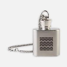 Dark Grey Chevron Flask Necklace