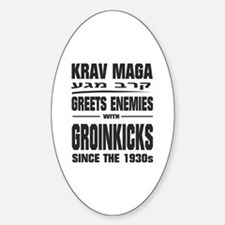 krav maga regular kicks to the groi Sticker (Oval)
