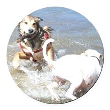 Dogs at Play Round Car Magnet