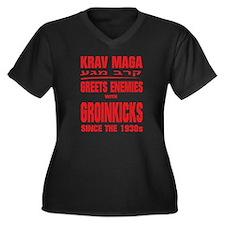 krav maga re Women's Plus Size V-Neck Dark T-Shirt