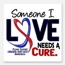 "CHD Needs a Cure 2 Square Car Magnet 3"" x 3"""