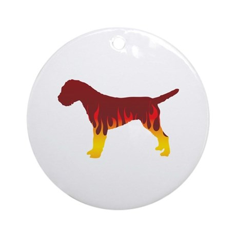 Terrier Flames Ornament (Round)