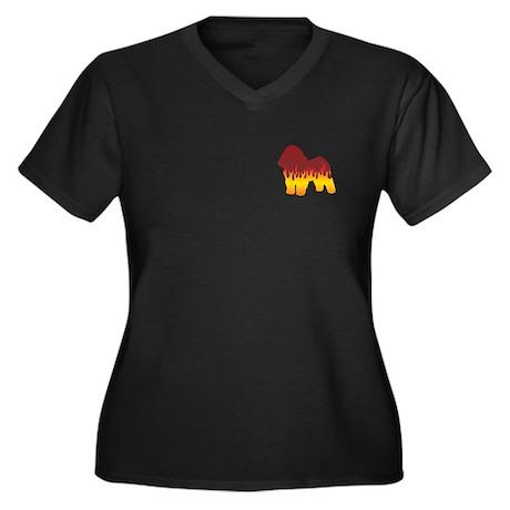 Bolognese Flames Women's Plus Size V-Neck Dark T-S