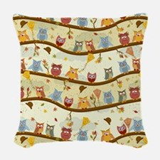 Autumn Owls Woven Throw Pillow