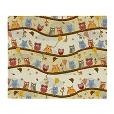 Autumn Owls Throw Blanket