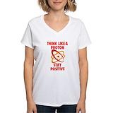 Think like a proton Womens V-Neck T-shirts