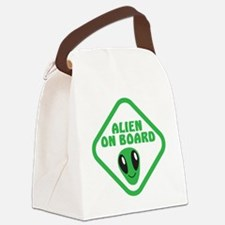 Alien on Board with green man Canvas Lunch Bag