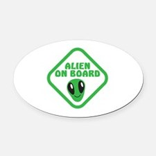 Alien on Board with green man Oval Car Magnet