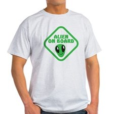 Alien on Board with green man T-Shirt