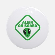 Alien on Board with green man Round Ornament