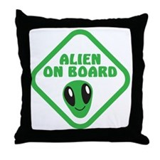 Alien on Board with green man Throw Pillow
