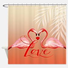 Flamingo Love Shower Curtain | Peach
