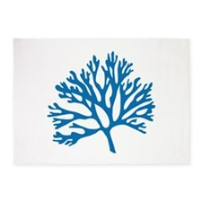 blue coral silhouette 5'x7'Area Rug