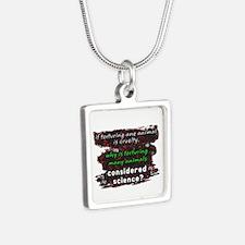 Animal Cruelty Silver Square Necklace