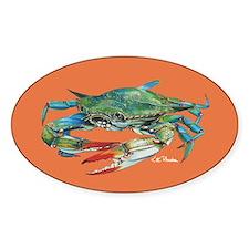 Blue Crab Orange Sticker (oval)