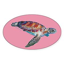 Sea Turtle Pink Sticker (oval)