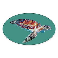 Sea Turtle Teal Sticker (oval)