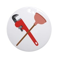 Pipe Wrench Toilet Plunger Ornament (Round)