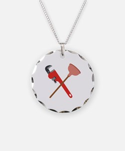 Pipe Wrench Toilet Plunger Necklace