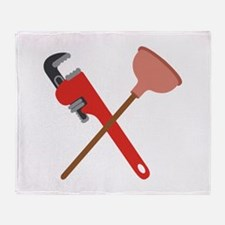 Pipe Wrench Toilet Plunger Throw Blanket