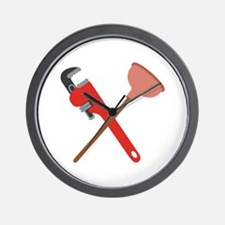 Pipe Wrench Toilet Plunger Wall Clock