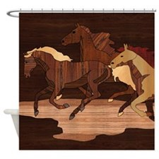 Wooden Horses Shower Curtain