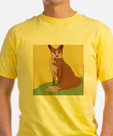 The Lonely Fox Sitting Viewing the Moon T-Shirt