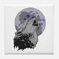 Howling Coyote Moon Tile Coaster