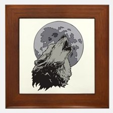 Howling Coyote Moon Framed Tile