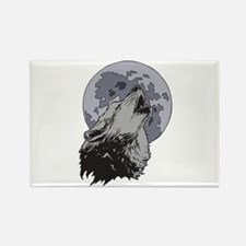 Howling Coyote Moon Rectangle Magnet