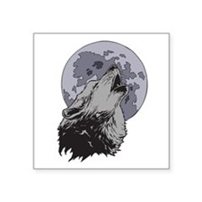 """Howling Coyote Moon Square Sticker 3"""" x 3"""""""