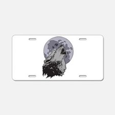 Howling Coyote Moon Aluminum License Plate