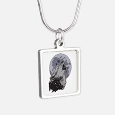 Howling Coyote Moon Silver Square Necklace