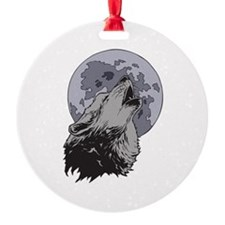 Howling Coyote Moon Ornament