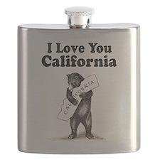 Vintage I Love You California State Bear Flask