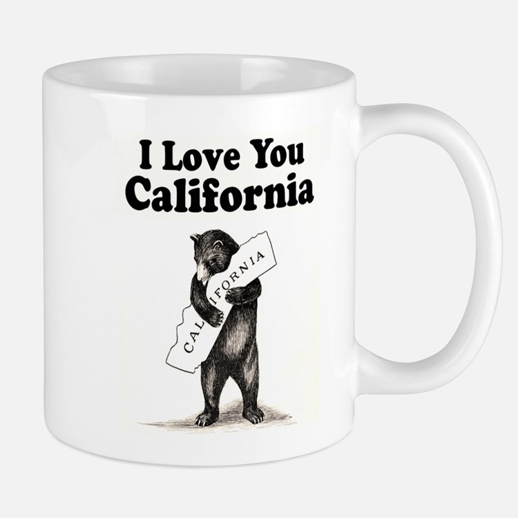 Vintage I Love You California State Bear Mugs