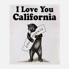 Vintage I Love You California State Bear Throw Bla