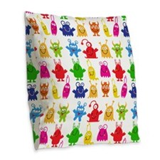 Monster Pattern Burlap Throw Pillow