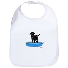 Black Labrador Retriever in kiddie pool Bib