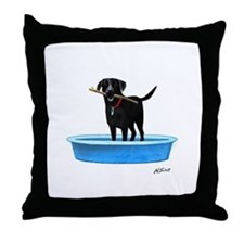 Black Labrador Retriever in kiddie pool Throw Pill