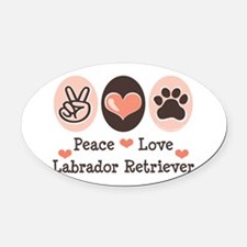 Cute Dog paw lab Oval Car Magnet