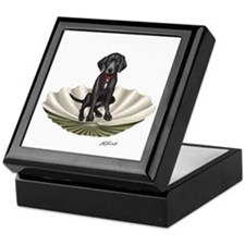 Lab Pup In A Clam Shell Keepsake Box
