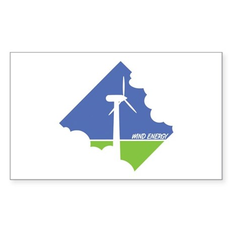 Wind Energy Logo Sticker (Rectangle)