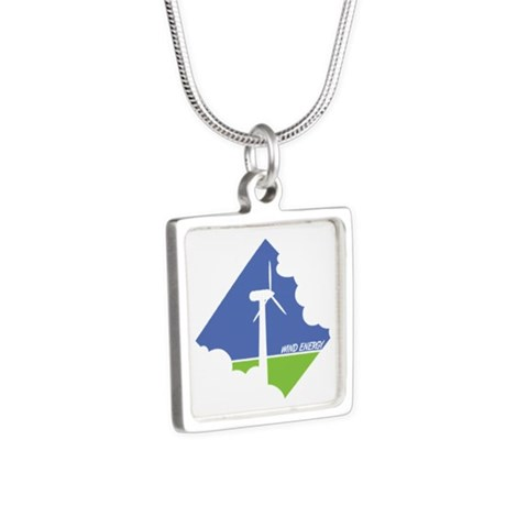 Wind Energy Logo Silver Square Necklace